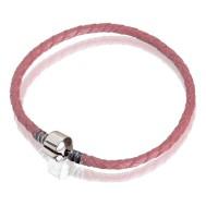 Браслет (кожа розовая, сталь, 17 см, 18см, 19 см, 20 см)