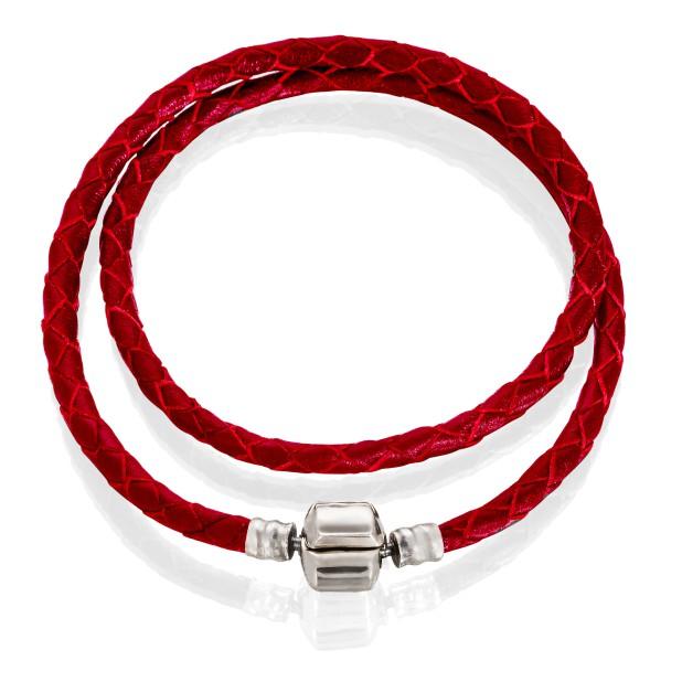 Браслет двойной (кожа красная, нержавеющая сталь, от 34 см)