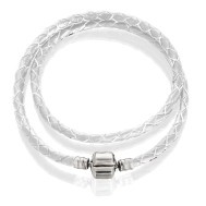 Bracelet double (white leather, stainless steel, 36 cm, clip)
