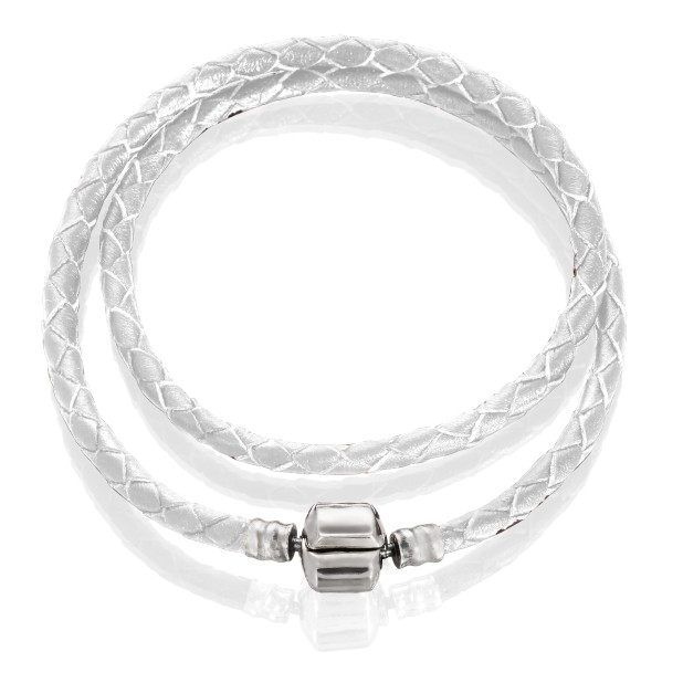 Bracelet double white leather, stainless steel, 31 cm