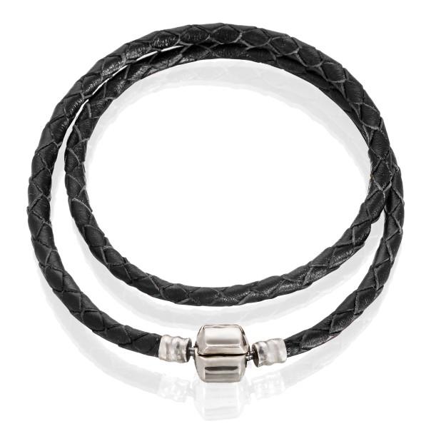 Браслет кожа черная, нержавеющая сталь, от 36 см