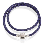 Браслет ( кожа фиолетовая, нержавеющая сталь, от 34 см)