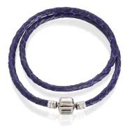 Bracelet (leather purple, silver, 36-42cm)