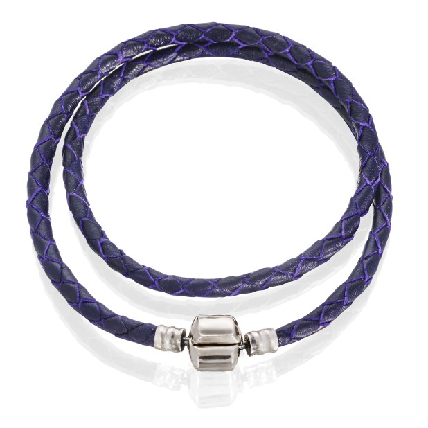 Bracelet double (lilac leather, stainless steel, 34 cm, clip)