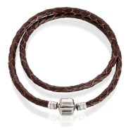 Bracelet double (silver, leather, 36-40 cm, brown)