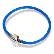 Bracelet (blue leather, silver, 17 cm, 18 cm, 19 cm, 20 cm)
