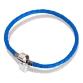 Браслет ( кожа голубая, серебро, 17 см, 18см, 19 см, 20 см)