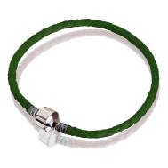 Bracelet (leather green, stainless steel, 17 cm, 18cm, 19 cm, 20 cm)