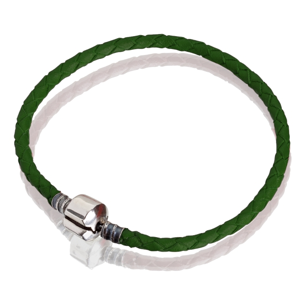 Браслет ( кожа зеленая, серебро, 17 см, 18см, 19 см, 20 см)