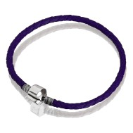 Bracelet (purple leather, stainless steel, 17 cm, 18 cm, 19 cm, 20 cm, clip)