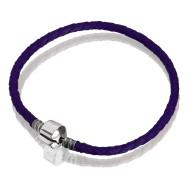 Браслет ( кожа фиолетовая, серебро, 17 см, 18см, 19 см, 20 см)
