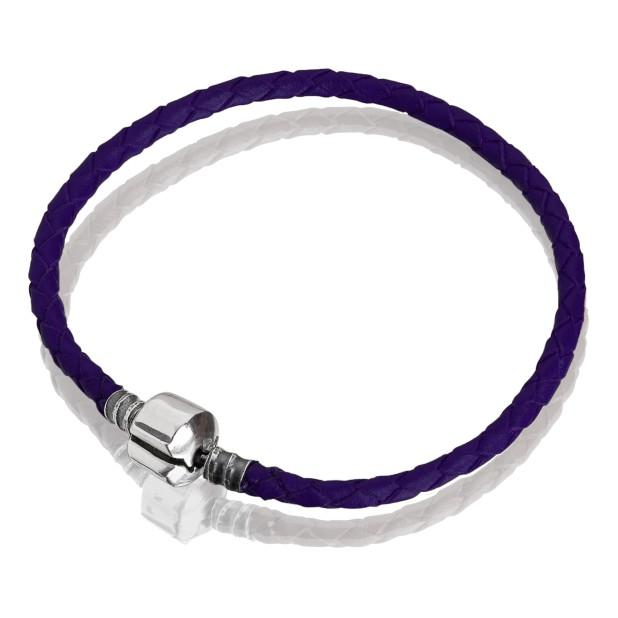 Браслет кожа фиолетовая, нержавеющая сталь, 17 см, 18см, 19 см, 20 см