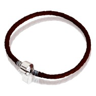 Bracelet (brown leather, stainless steel, 17 cm, 18 cm, 19 cm, 20 cm, clip)