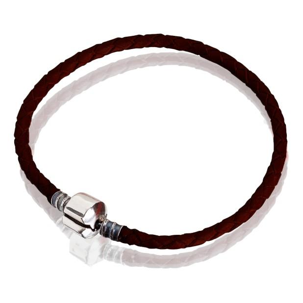 Bracelet (red leather, steel, 17cm, 18cm, 19cm, 20cm)