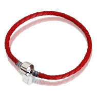 Bracelet (red leather, stainless steel, 17 cm, 18 cm, 19 cm, 20 cm, clip)