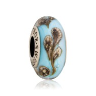 Бусина Мраморные цветы на голубом в серебре