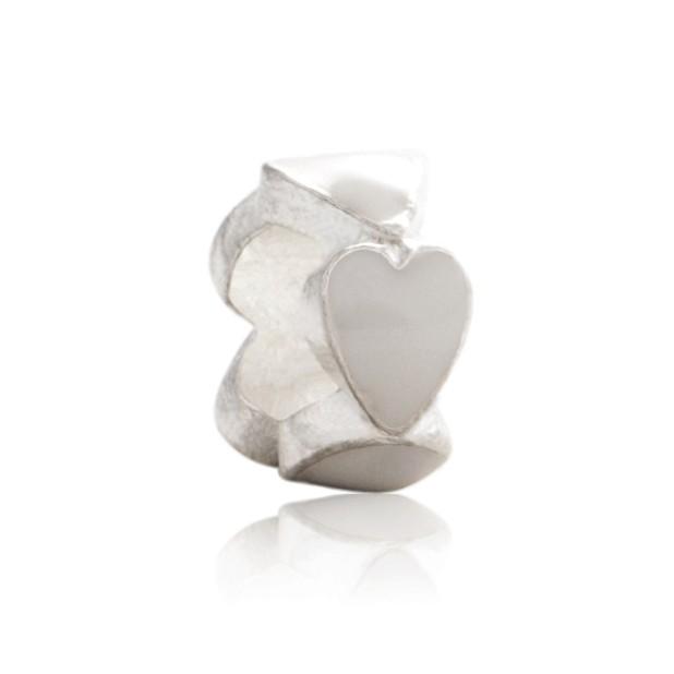 Бусина Сердечки в колечке (белые)