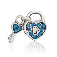 Бусина Открытое сердце голубое