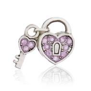 Бусина Открытое сердце розовое