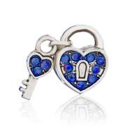 Бусина Открытое сердце (синее)