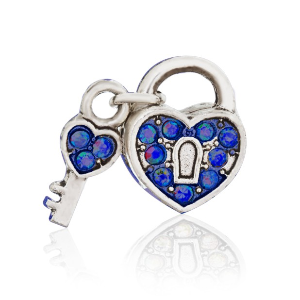 Бусина Открытое сердце синее