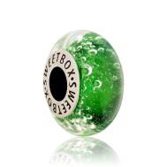 Бусина Гейзер зеленый в серебре