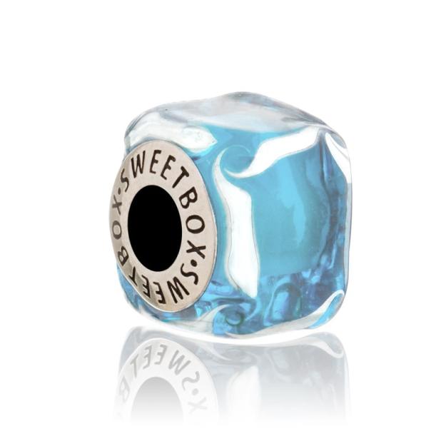 Бусина Кубик льда Голубой Кисель (в серебре)