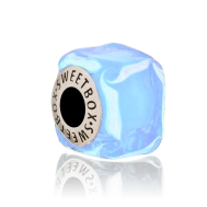 Bead Blue Marble Ice Cube (Silver)