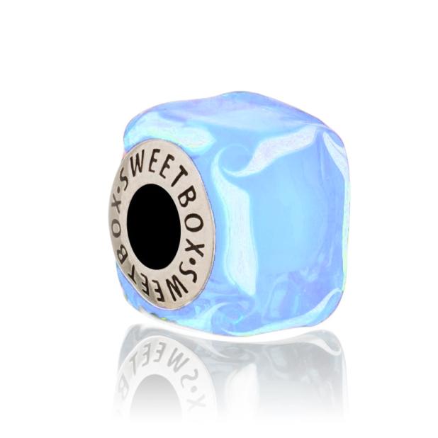 Бусина Кубик льда Голубой Мрамор в серебре