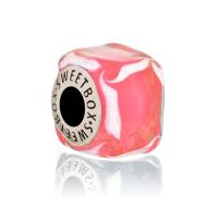 Бусина Кубик льда Розовое Варенье в серебре