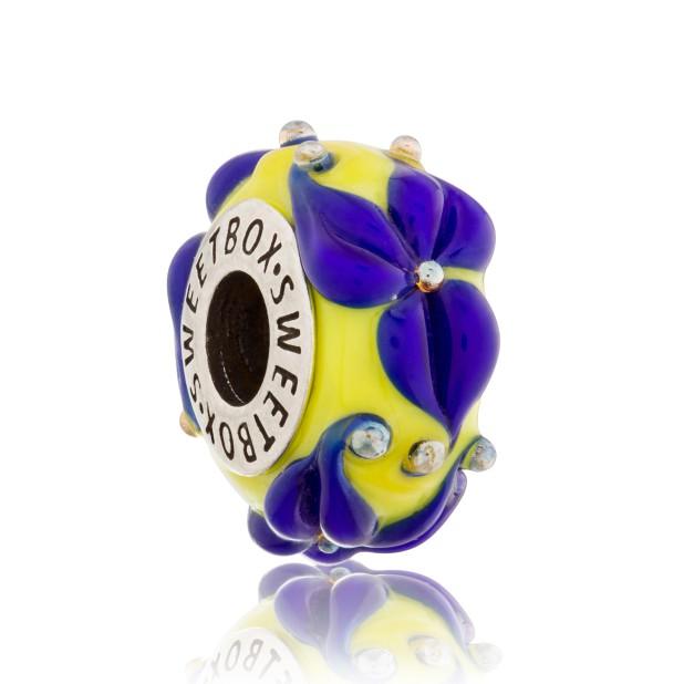 Бусина Лилия желто-фиолетовая