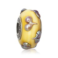 Golden Heart Bead in Silver