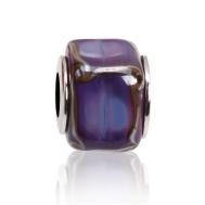 Бусина Кубик льда Фиолетовый мрамор в серебре