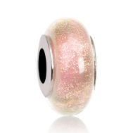Бусина Звездная Пыль на розовом в серебре