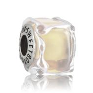 Бусина Кубик льда Слоновая кость в серебре