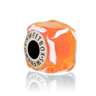 Bead Ice cube Orange in silver