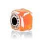 Бусина  Кубик льда Оранжевый в серебре
