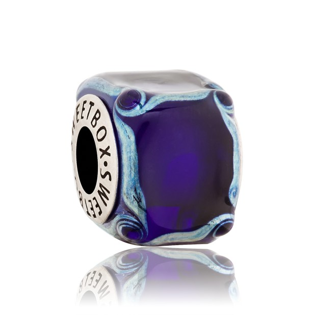 Бусина Кубик льда синий (в серебре)